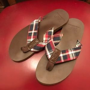 "97db887f76299 Brooks Brothers ""346"" leather flip flops"